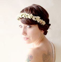 Bridal flower crown Wedding head piece Ivory flower by whichgoose