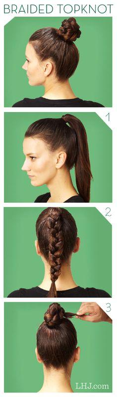 Hair How To: Braided Top Knot knot tutori, hair how to braid, style hair, braid bun, braid top, knots, hair style, everyday look, braided top knot