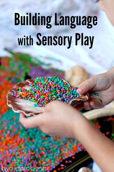 Easy-to-follow tips for using sensory play activities to stimulate language in young children- great for parents and teachers of toddlers!