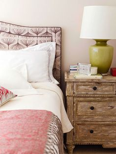 Headboard, color combo and bedside table