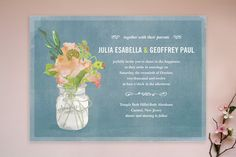 Mason jar themed wedding invitation with a soft country blue. idea, masons, weddings, wedding invitations, bouquets, bouquet wedding, beth ann, mason jars, bouquet damour