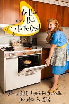 Our pregnancy announcement - bun in the (or my!) oven! Shot this in my grandma's kitchen, very sentimental to us!