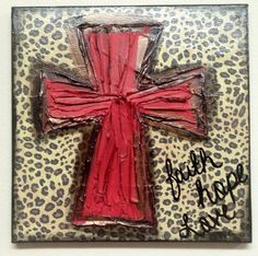 Red Leopard Cross Faith Hope Love Textured Canvas