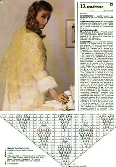 Yellow shawl with diagram