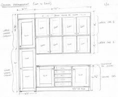 """Good cabinet drawings don't have to be perfectly to scale.  They only need to show the maker everything he needs to know in order to make the cabinets the way you want them made.  The """"front elevation"""" is the most basic, key drawing we need.  This drawing--of a butler's pantry addition--was provided by the client--who has some cabinet making / cabinet installing experience.  With one quick look I know exactly what the project entails and I can bid it (and build it) quickly and accurately."""
