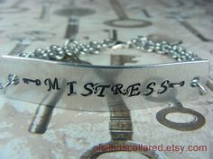 Mistress Handstamped Chainmaille Bracelet by aislinnscollared, $17.00