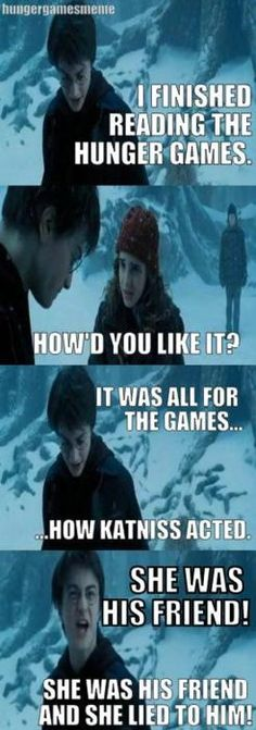 Harry's reaction to the Hunger Games