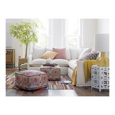 living rooms, couch, pattern, pouf, color, side tabl, crate, barrel, live room