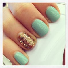 Mint + gold nails :) Cute for the holidays