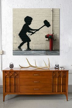 "Banksy 26"" x 26"" Strongman Game II - Beyond the Rack"