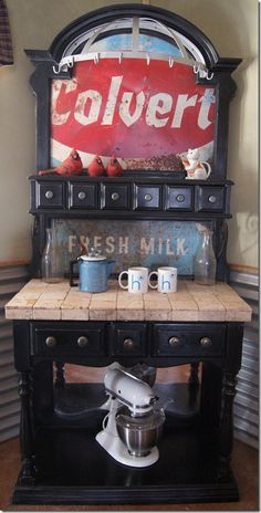 kitchen coffee station from reclaimed pantry and old sign - love it!