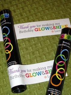 A fun alternative to a sugary treat...  Glow sticks for party favors or a celebration at school.
