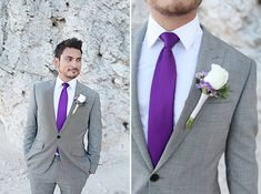 groom in a gray suit with a bold purple tie | Modern Purple Destination Wedding in Cancun | Images by Scot Woodman Photography