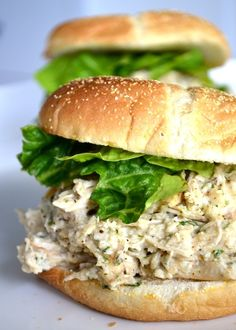 Slow Cooker Chicken Caesar Sandwiches. Cant wait to try them.