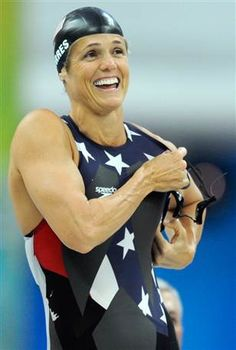 Dara Torres.     Torres, 41, became the oldest Olympic swimming medalist