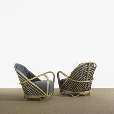 Arne Jacobsen, Rattan and Cane Charlottenborg Lounge Chairs for Nissen  Co., 1936.