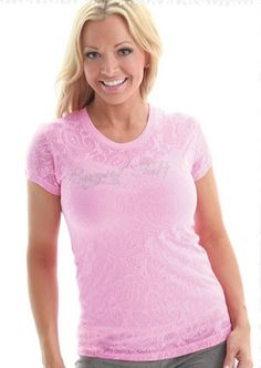 "NEW ""Cowgirl Tuff"" Women's Pink Burnout Paisley for Breast Cancer Awareness"