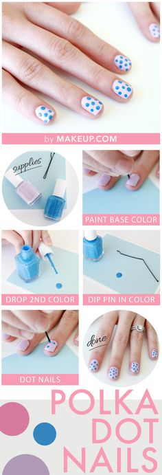 diy polka dot manicure // using only a bobby pin! #nails #easter