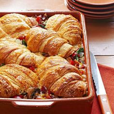 stuf croissant, breakfast casserole, brunch casserol, wedding showers, brunch recipes, indulg makeahead, breakfast strata, makeahead treat, croissant breakfast