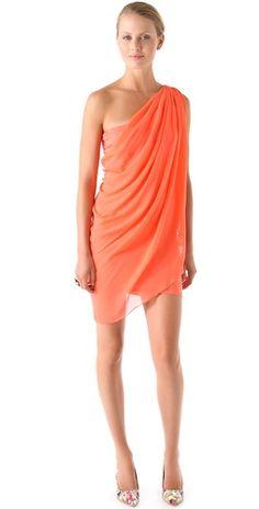 Chiffon One Shoulder Drape Dress