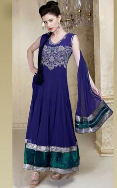 USD 208.36 Purple Net Long Anarkali Salwar Kameez 30304