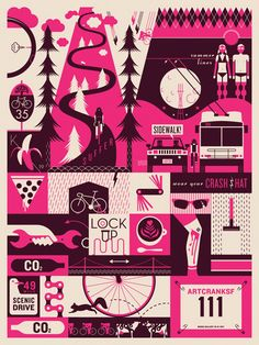 Screenprinted Bicyclethemed Poster by MatthewGoods on Etsy, $40.00