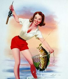Vintage woman fishing pinup www.lodgemonster.com