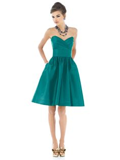 in jade; also caspian and dark green,  dessy dress, alfred sung