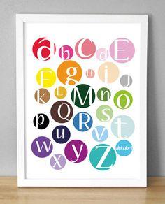 """Playroom - Printable Wall Art - Color Dot Alphabet - 8.5""""x10"""""""