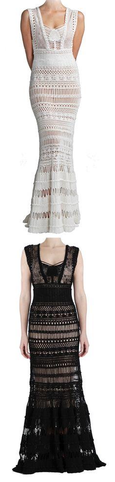Catherine Malandrino. Maxi Vestido de crochê.