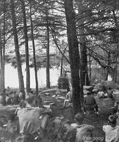 """Services at the original location of the Protestant Cathedral at #Yawgoog sometime before the Great New England Hurricane of 1938. This image appeared on page 34 of the 1940 book """"Nature Recreation"""" by William G. Vinal; the caption reads, """"Fig. 10 -- A boy scout is reverent. A scene in the Outdoor Cathedral, Camp Yawgoog, Narragansett Council, Boy Scouts of America. (Photograph courtesy of J. Harold Williams, Chief Scout Executive, Narragansett Council.)"""" On the Orange Trail."""