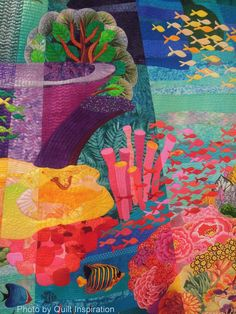 The Great Barrier Reef by Miki Murakami, Japan.  2013 Houston IQF, close up photo by Quilt Inspiration