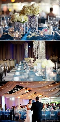 Elegant wedding decor wedding blue lights decor flowers candles white