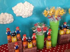 Super Mario Bros dessert table with marshmallow clouds