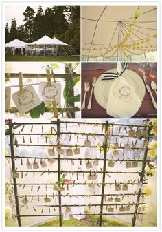 Place cards attached with twine and clothespins...