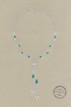Tiffany & Co. Great Gatsby Jewelry Collection - A sketch of a Tiffany necklace with tsavorites and diamonds