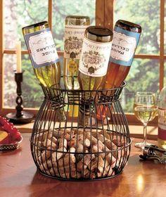 Cork and Wine Barrel Bottle Holder Kitchen Table Accent Bar Home Decor