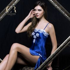 CR counter ladies silk pajamas women in sundresses chest embroidery pure silk silk home clothes