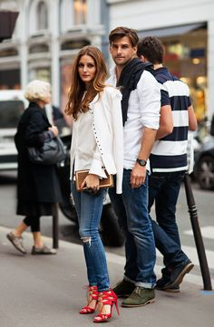 White, Denim, Red Shoes
