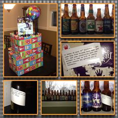 The ultimate guy/ beer lover's birthday gift. Step 1: Get beer recommendations from friends of the birthday boy.  Step 2: Locate a store near you that sells single bottles and has a good variety.  Buy as many on your list as you can find.  Step 3: Create labels with bday messages indicating who gave the rec.  Also can include famous beer quotes.  Step 4: Display in layer cake fashion.  Step 5: For an added touch throw a beer exchange party so the final gift can be admired, enjoyed, and everyo...