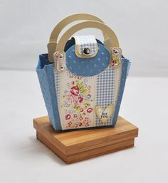 handmade floral and gingham gift bag