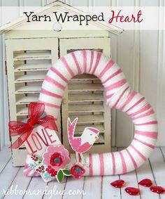 yarn wrap, diy crafts, yarns, ribbon, valentine ideas, wrap heart, wreaths, diy projects, heart wreath