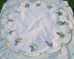 Vintage Christmas Tree Skirt ~ Handmade 12 Days Of Christmas White Felt Tree Skirt