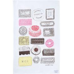 Family favourites tea towel by Charlotte Farmer