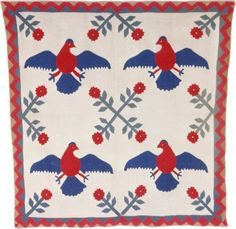 United States, Pennsylvania  Bedcover, 1850/1900  Cotton, plain weave; pieced; appliquéd with cotton, plain weave, printed; quilted; bac...~♥~