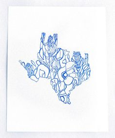 Texas Bluebonnet State Flower Letterpress Print by Thimblepress