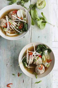 Vietnamese broth with prawn-and-pork meatballs.