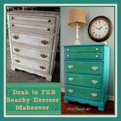 ART IS BEAUTY: Drab to FAB Beachy Dresser Makeover