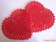 Crochet red hearts ♥LCH-MRS♥ with diagram