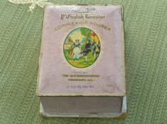 Vintage Tin Powder Box Rawleigh De English Lavender Complexion Powder Litho of Colonial People